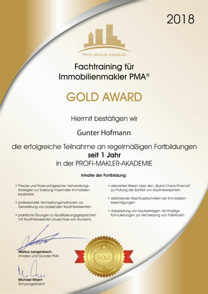 Goldurkunde_PMA_1Jahr Hofmann Gunter GGH Immobilien Kieselbronn