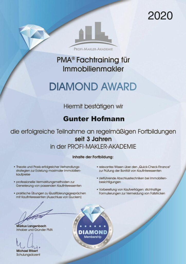 Gunter_Hofmann_4100_PMA®_Fachtraining_für_Immobilienmakler_-_Diamond_Award_-_3_Jahre_PMA