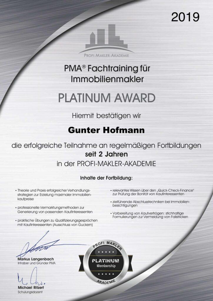 Platinum Award PMAFortbildung Fachtraining für Immobilienmakler Gunter Hoffmann GGH Immobilien Kieselbronn